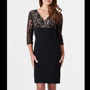 Adrianna Papell black lace dress.